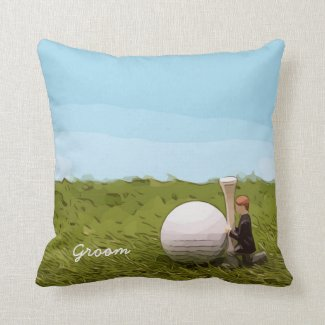 Golf groom  with golf ball tee Wedding Throw Pillow