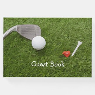 Golf Guest book golf ball and tee with love