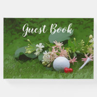 Golf Guest book with golf ball and tee on flora