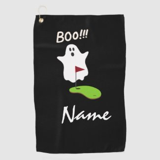 Golf Halloween Day with Ghost at hole Boo  Golf Towel
