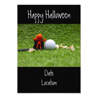 Golf Halloween Day with golf ball pumpkin ghost Invitation