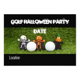 Golf Halloween Party invitation with monster