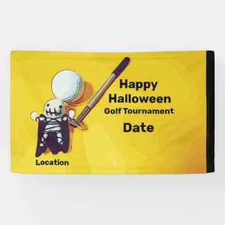 Golf Halloween with golf ball and ghost Golf Banner