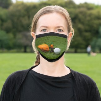 Golf halloween with golf ball and ghost pumpkin adult cloth face mask