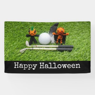 Golf Halloween with golf ball and ghost pumpkin Banner