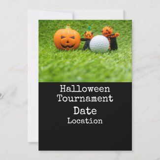 Golf Halloween with golf ball and ghost pumpkin Invitation