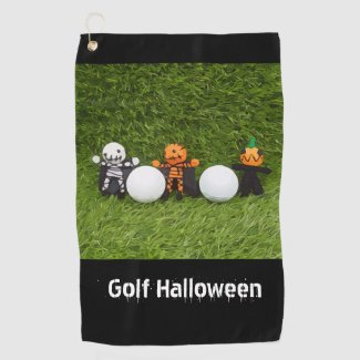 Golf Halloween with golf ball and monster skeleton Golf Towel