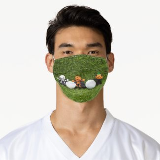 Golf halloween with golf ball and monsters adult cloth face mask