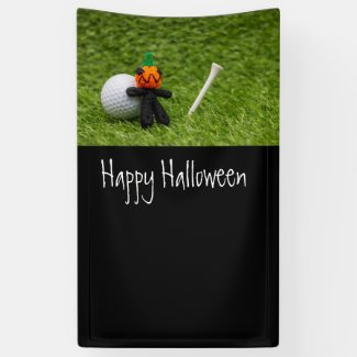Golf Halloween with golf ball and pumpkin ghost Banner