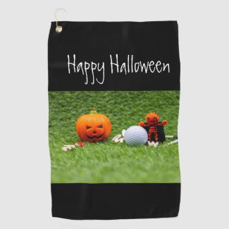 Golf Halloween with golf ball and pumpkin ghost Golf Towel