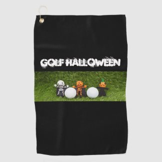 Golf Halloween with monster and golf ball Golf Towel