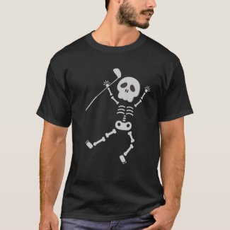 Golf Halloween with Skeleton golfer holds iron  T-Shirt