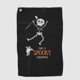 Golf Halloween with Skeleton golfer spooky Golf Towel