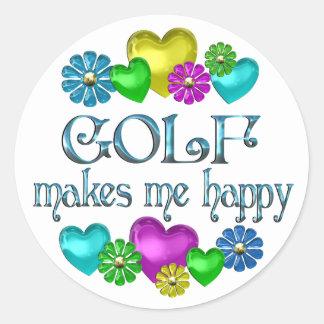 Golf Happiness Classic Round Sticker
