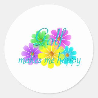 Golf Happiness Flowers Sticker