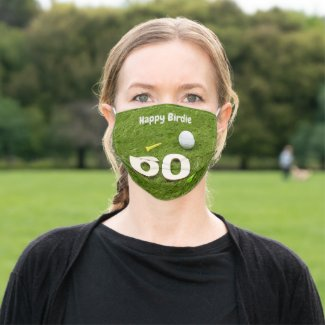 Golf happy 60th birthday birdie with golf balls cloth face mask