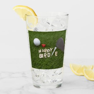 Golf happy birdie golfer &ball and tee with love s glass