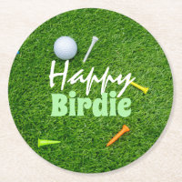 Golf Happy Birdie Golfer Birthday with golf ball Round Paper Coaster