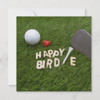 Golf Happy Birdie with golf ball and love on green Card