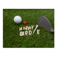 Golf Happy Birdie with golf ball and love on green Postcard