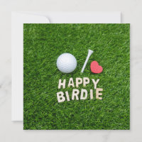 Golf happy birdie with golf ball and tee love