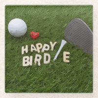 Golf Happy Birdie with golf ball and tee with love Glass Coaster