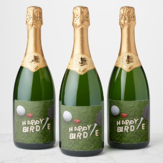 Golf Happy Birdie with golf ball on green grass Champagne Label