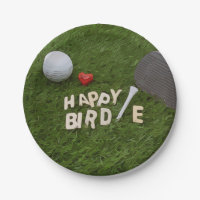 Golf Happy Birdie with golf ball on green grass Paper Plate