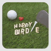Golf Happy Birdie with golf ball on green grass Square Sticker