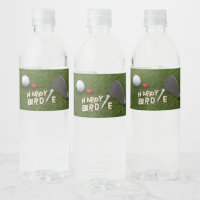 Golf Happy Birdie with golf ball on green grass Water Bottle Label