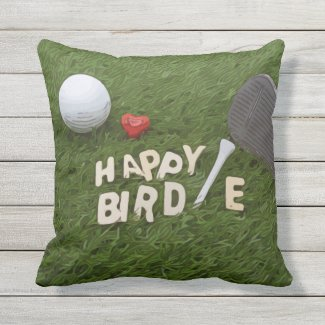 Golf happy Birdie with golf ball on green Outdoor Pillow