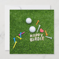 Golf happy birdie with love golf ball and tee golf