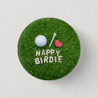 Golf happy birdie with love golf ball and tee golf button