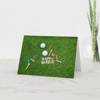 Golf happy birdie with love golf ball and tee golf card