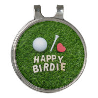 Golf happy birdie with love golf ball and tee golf hat clip