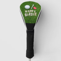 Golf happy birdie with love golf ball and tee golf head cover