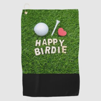 Golf happy birdie with love golf ball and tee golf towel