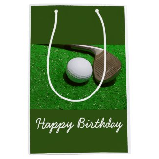 Golf Happy Birthday bag with golf ball on green