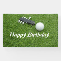 Golf Happy Birthday Banner with golf ball on green