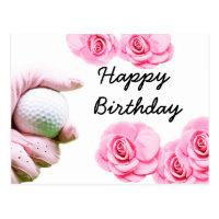 Golf Happy Birthday Card Hand is holding golf ball
