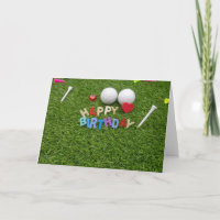 Golf happy birthday  golf ball and tee on green card