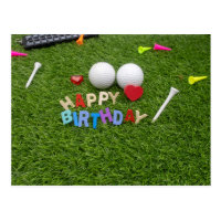 Golf happy birthday golf ball and tee on green postcard
