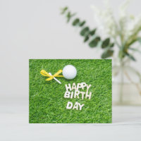 Golf Happy Birthday to golfer with ball and ribbon Card