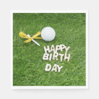 Golf Happy Birthday with balls and yellow ribbon Napkin