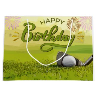 Golf Happy Birthday with golf ball and iron  Large Gift Bag