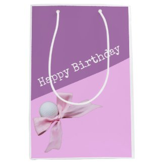 Golf Happy Birthday with Golf ball and Pink ribbon Medium Gift Bag