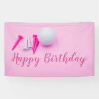 Golf Happy Birthday with golf ball and pink tees Banner