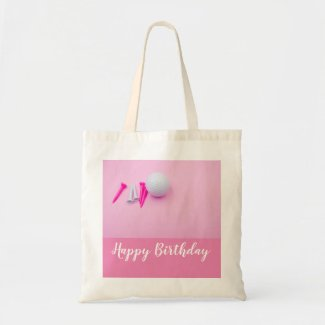 Golf Happy Birthday with golf ball and pink tees Tote Bag