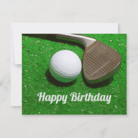 Golf Happy Birthday with golf ball and sand wedge Card