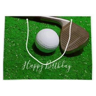 Golf Happy Birthday with golf ball and sand wedge Large Gift Bag